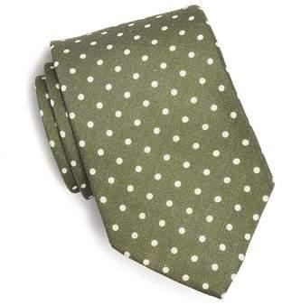 Drakes Drake's Printed Silk Dot Tie in Olive