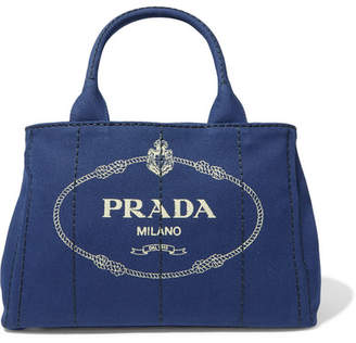 Prada Logo-print Canvas Tote - Blue