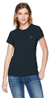 Armani Exchange A|X Women's Short Sleeve Scoop Neck Tee with Logo on Breast