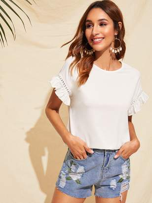 014b09d2 Shein Ruffle Trim Guipure Lace Detail Top