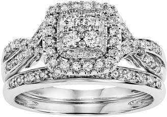 Vera Wang Simply Vera 14k White Gold 1/2 Carat T.W. Certified Diamond Square Halo Engagement Ring Set
