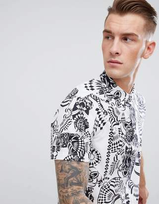 Versace Shirt In White With Tiger Spiral Print Reg Fit