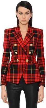 Balmain Double Breasted Plaid Wool Twill Blazer