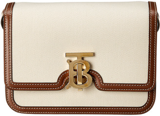 Burberry Tb Small Canvas & Leather Shoulder Bag