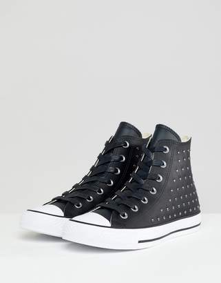 Converse Chuck Taylor All Star leather studded hi sneakers in black