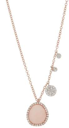 Meira T 14K Rose Gold Pink Opal & Diamond Charm Necklace