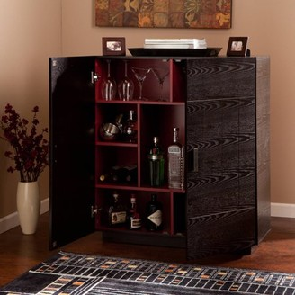Mid-Century MODERN Southern Enterprises Chapli Midcentury Modern Bar Cabinet, Ebony/Red