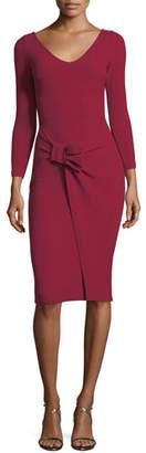 Chiara Boni V-Neck Long-Sleeve Side Bow Crepe Cocktail Dress