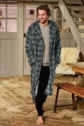 Next Mens Grey Check Fleece Dressing Gown - Grey