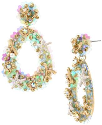 Betsey Johnson Coachella Mermaid Crystal Faux Pearl Sea Life Charm Drama Earrings
