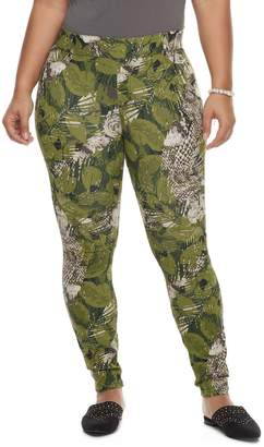 Utopia By Hue Plus Size Utopia by HUE Floral Palm Print Denim Leggings