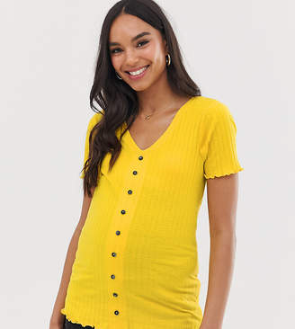 New Look Maternity button through rib tee in yellow