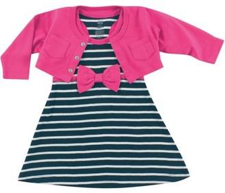 Hudson Baby Newborn Baby Girls Cropped Cardigan w/ Racerback Dress - Berry/Navy