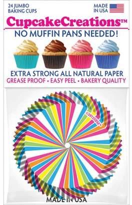 CUPCAKE CREATIONS Jumbo Baking Cups, Rainbow Swirl, 24pk