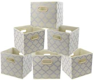STORAGE BINS Cloth Storage Bins, Foldable Basket Cubes Organizer Container Drawers with Dual Plastic Handles for Closet Bedroom Toys, 6 Pack,Beige Large