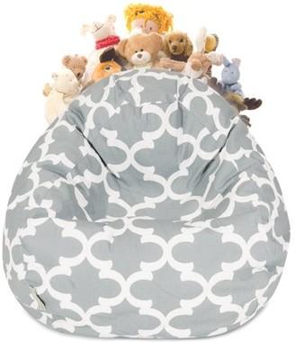 Majestic Home Goods Trellis Stuffed Animal Storage Bean Bag Chair Cover w/ Transparent Mesh Base, Multiple Colors