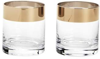 True Fabrications Viski Irving Set of 2 Bronze Rim Tumblers