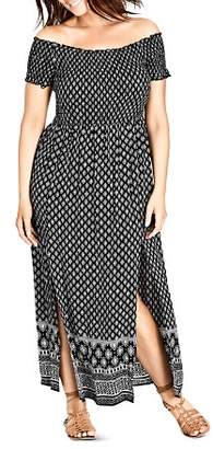 City Chic Plus Smocked Off-the-Shoulder Maxi Dress