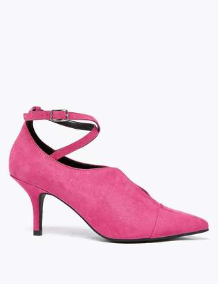 Marks and Spencer Crossover Strap Kitten Heel Court Shoes