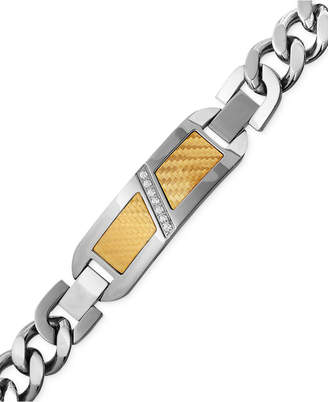 Macy's Men's Diamond (1/10 ct. t.w.) Decorative Plate Heavy Link Bracelet in Stainless Steel with 18k Gold Inlay