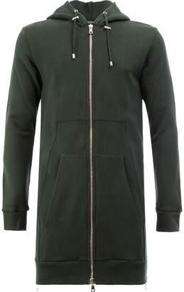Balmain longline zip detail hoodie
