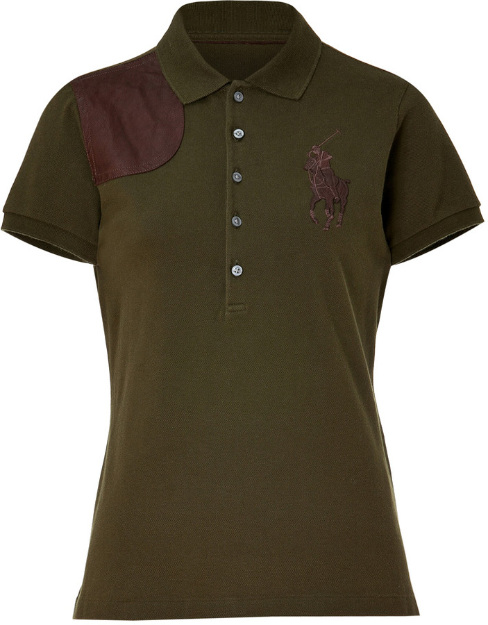 Ralph Lauren Sawmil Green Cotton Polo-Shirt With Leather Application