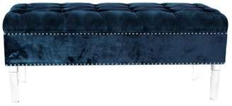 DecMode Decmode Modern Pine Wood and Acrylic Tufted Blue Fabric Bench, Teal Gray