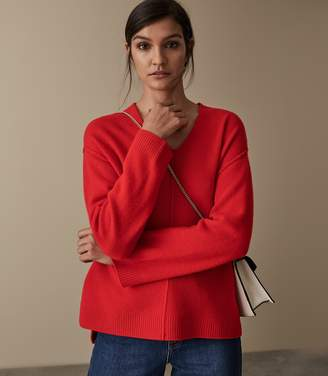 Reiss SERAFINA WOOL CASHMERE BLEND JUMPER Red