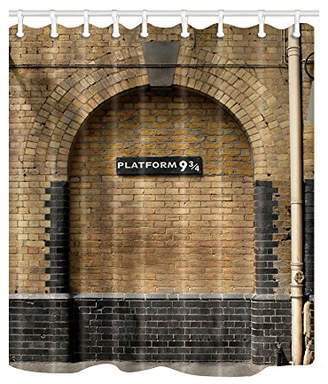NYMB Platform 9 and 3/4 at London's King's Cross Station Brown Wall Vintage Shower Curtain