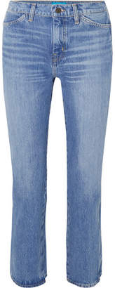 MiH Jeans Cult Cropped High-rise Straight-leg Jeans - Mid denim