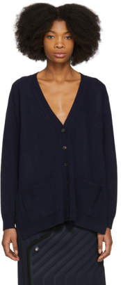 Balenciaga Navy Draped Knit Cardigan