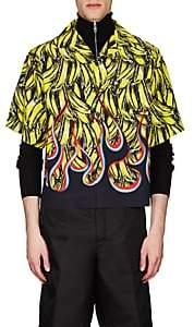 Prada Men's Flame- & Banana-Print Bowling Shirt - Yellow