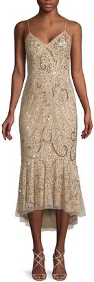 Adrianna Papell Sequined Trumpet Dress
