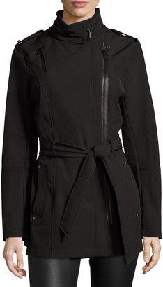 MICHAEL Michael Kors Asymmetric-Zip Trench Coat, Black $155 thestylecure.com