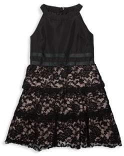 BCBGirls Girl's Tiered Lace Halter Dress