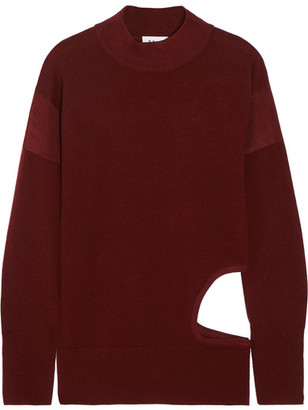DKNY - Cutout Stretch-merino Wool Sweater - Merlot $360 thestylecure.com