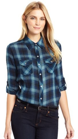 C&C California Women's Yarn Dye Crinkle Deco Plaid 2 Pocket Button Down Shirt