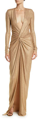 Alexandre Vauthier Plunging Long-Sleeve Knot-Front Sparkle-Jersey Evening Gown