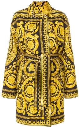 Versace Baroque print wrap coat