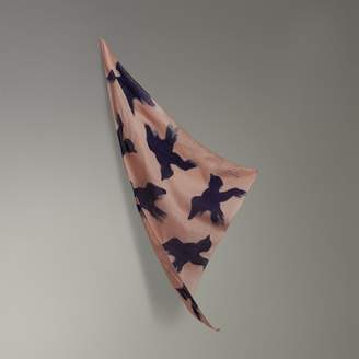 Burberry Bird Print Cotton Scarf
