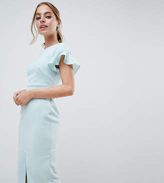 Asos DESIGN Petite Midi Wiggle Dress With Fluted Sleeve
