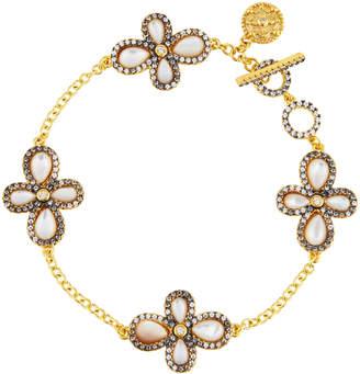 Freida Rothman Pave Crystal Clover Station Bracelet