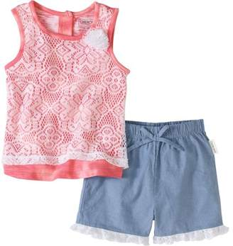 Cherokee Toddler Girl Layered Top and Short 2pc Set