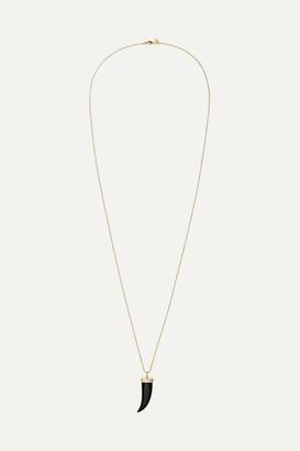 Sydney Evan Horn 14-karat Gold, Onyx And Diamond Necklace
