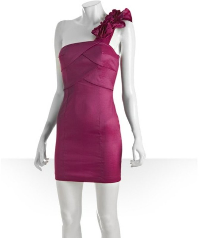 Romeo & Juliet Couture fuchsia stretch taffeta one shoulder dress