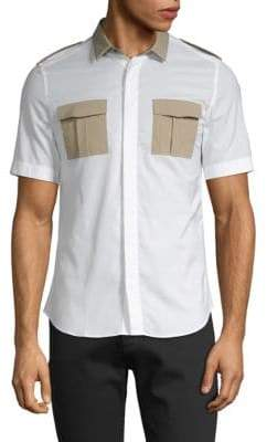 Valentino Short-Sleeve Cotton Button-Down Shirt