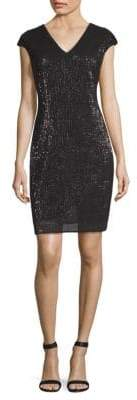 St. John Pleated-Embellished Dress