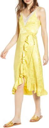 A La Plage Lace Wrap Dress with Camisole Underlay