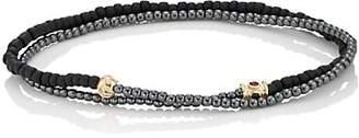 Luis Morais Men's Beaded Double-Wrap Bracelet - Black