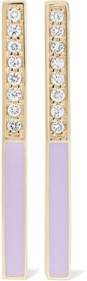 Alison Lou Linear 14-karat Gold, Diamond And Enamel Earrings